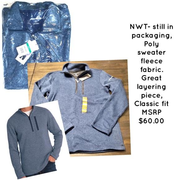 Eddie Bauer Men's 1/4 zip sweater, blue